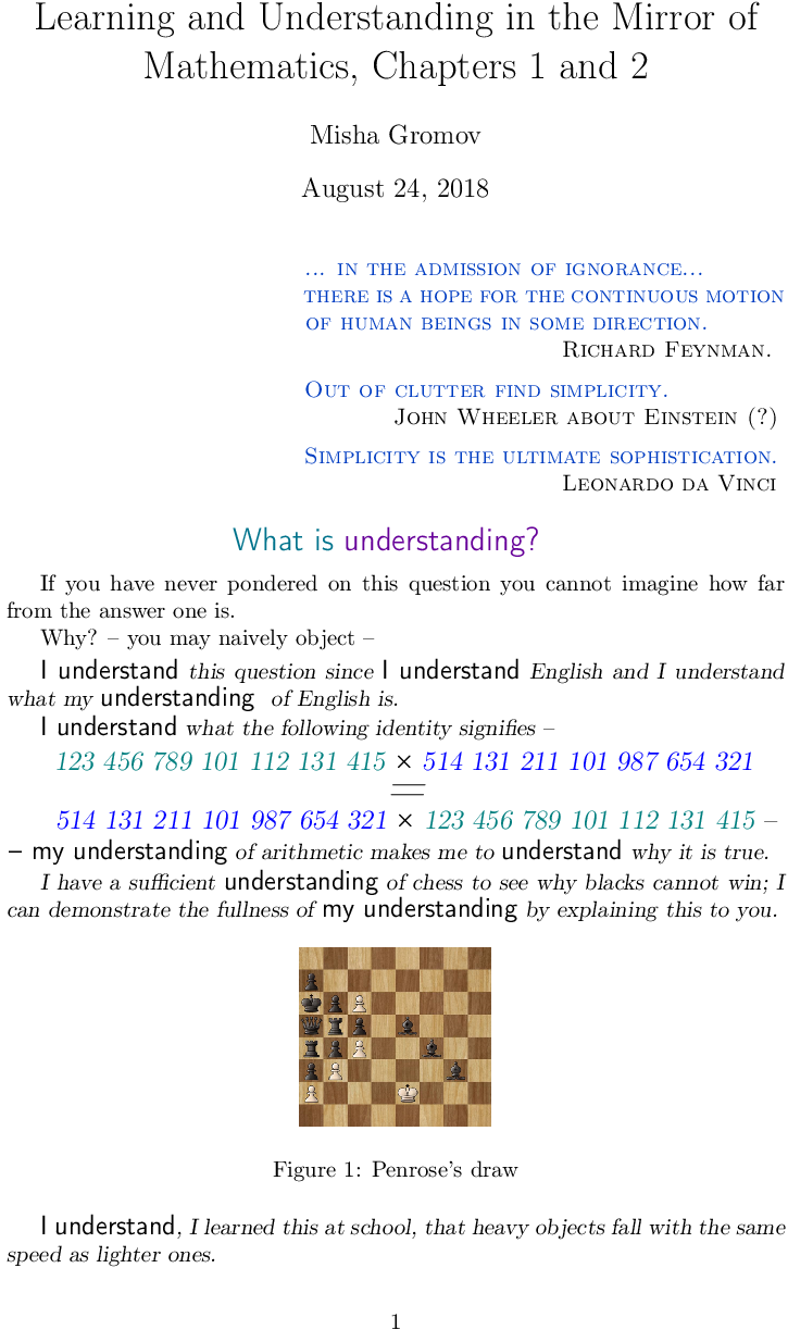 Learning and Understanding in the Mirror of Mathematics, Chapters 1 and 2
