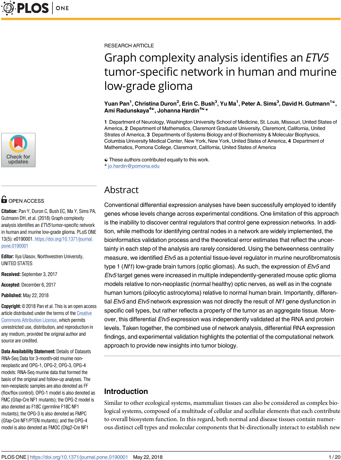 Graph complexity analysis identifies an ETV5 tumor-specific network in human and murine low-grade glioma